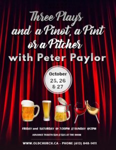 Three Plays & a Pinot, a Pint or a Pitcher @ Old Church Theatre